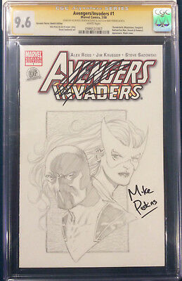 ALEX ROSS signed ORIGINAL MIKE PERKINS Sketch Art CGC 9.6 Avengers not CBCS