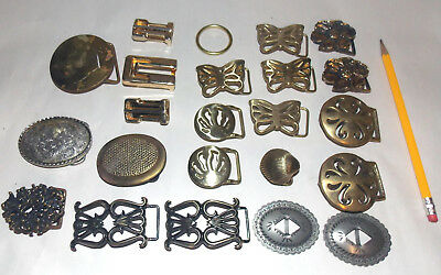 23pc Vintage SOLID BRASS & Jeweled Belt Buckles Lot WHOLESALE Various Sized 70s
