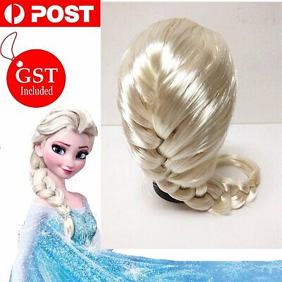 Elsa Frozen Snow Queen Blonde Braided Kids Girls Costume Wig Princess Ice Queen