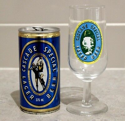 Rare COLLECTIBLE CASCADE SPECIAL LAGER STEEL 375ml BEER CAN. (Bonus Glass).