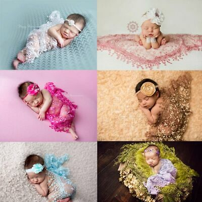 Newborn Lace Infant Baby Cheesecloth Wrap Rose Textured Photography Prop