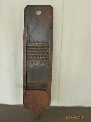 Antique Primitive Homemade Wood and Metal Grater and Slaw Cutter Dated 1888