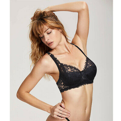 87cccca8945 Womens Sexy Low cut Underwired Embroidery Lace Bra 32-44 A-D DD E Brassiere