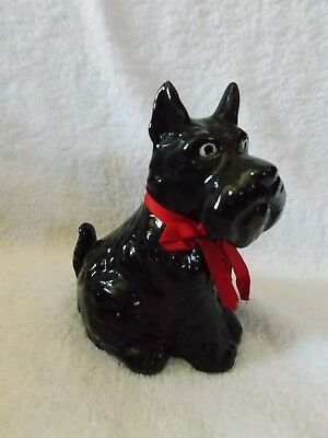 Vintage Scottie Dog With Red Ribbon Ceramic Coin Bank Made In Japan