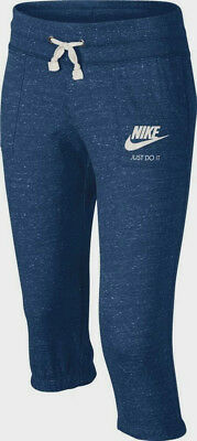 Nike Girls' Gym Vintage Blue/White Capri Jogger Pants (728403-433) Sizes L & XL