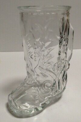 Vintage Clear Cowboy Boot Drinking Glass Beer Mug Mexico
