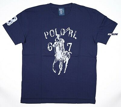 NWT Polo Ralph Lauren Men Big Pony Crew Neck Tee T-Shirt with #3 Newport Navy