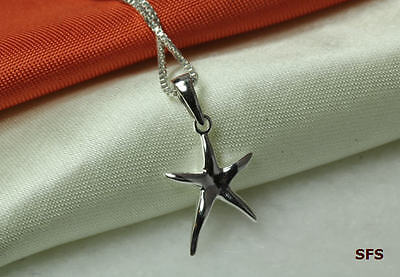 Small Starfish Pendant 925 Solid Sterling Silver W/ 16In Chain~Star-Small~Maxxt