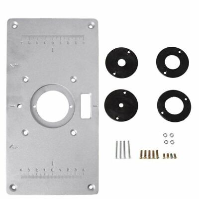 Aluminum Router Table Insert Plate w/4 Rings Screws for Woodworking Benches D 5N