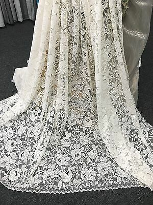 Beautiful Jacquard Lace-Roses-Donna by Nettex -213 cm Drop  -White