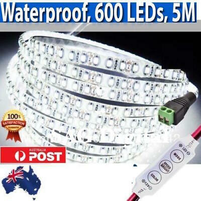 600 LEDs Waterproof Cool White 5M LED Strip Light or Dimmer&Connector AUS QLY 1.