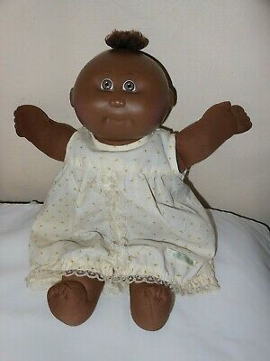 Vintage Cabbage Patch Kids-A.A. Preemie Doll-brown eyes & tuft of hair-Black sig