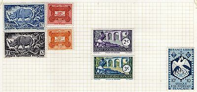 French Equatorial Africa -  Stamps on Album page from Old Collection  - MH