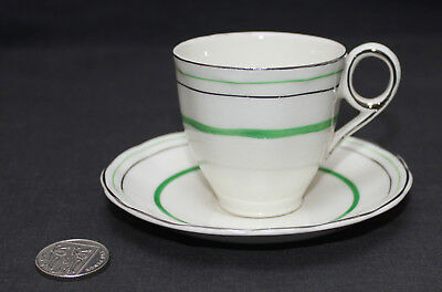 Vintage Grindley Cream Petal : Green Silver Band : Cup & Saucer