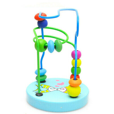 Baby Colorful Wooden Early Educational Game Mini Around Beads Kids Toddler Toy