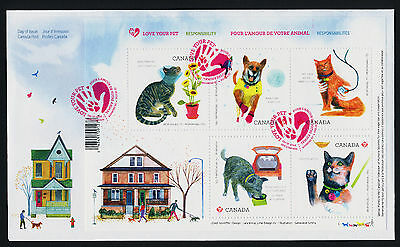 Canada 2829 on FDC - Animals, Love your Pet, Cat, Dog, Flowers