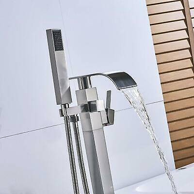 Stainless Steel Floor Mounted Bathtub Faucet Hot Cold Water Tap Shower