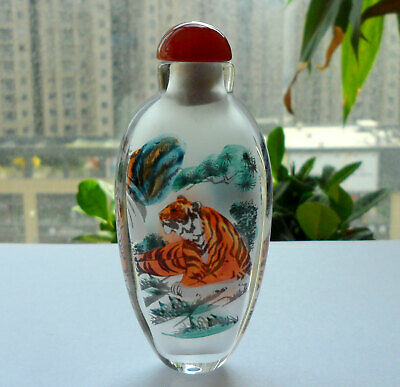 Chinese Collectible Handmade Inside painted Tiger glass Snuff Bottle With Box