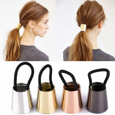 Chic Woman Metal Elastic Ponytail Holder Hair Cuff Wrap Tie Band Ring Rope 1PC