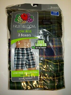 FRUIT OF THE LOOM MEN'S Low Rise BOXER Shorts L LARGE 38-40 3 pair pack NEW