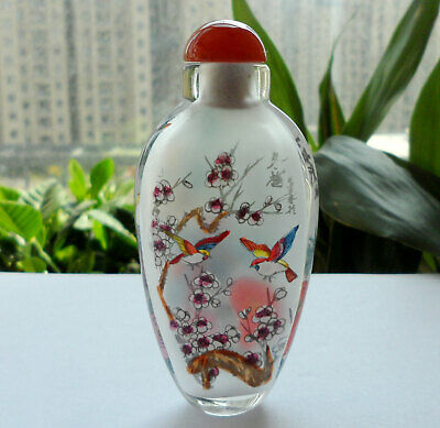 Chinese Collectible Handmade Inside painted Flower Birds glass Snuff Bottle &box