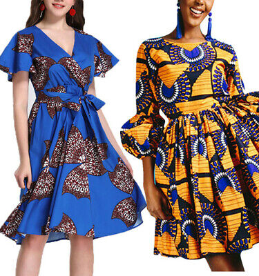 88507686e30e Fashion African Print Dress Women Retro High Waist Ball Gown Evening Swing  Dress