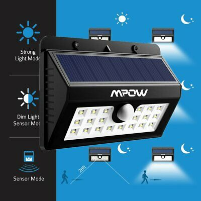 Mpow 20LED Outdoor Solar Motion Light Sensor Security Light Waterproof Wall Lamp