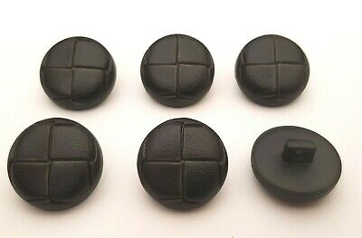 Set of 6 x 20mm Black Leather Look Football Shank Buttons - Jacket Coat Knitting