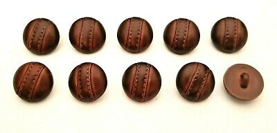 Set of 10 x 15mm Chestnut Brown Leather Look Football Shank Buttons Knitting