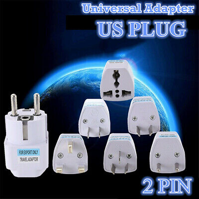 Universal Electricity Travel Adapter US 2 PIN Plug to Universal Outlet Converter