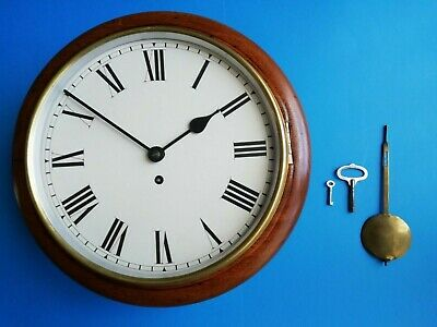 #097 Antique Mahogany Station/office Clock With 8-Day Chain Fusee Movement