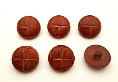 Set of 6 x 25mm Tan Brown Leather Look Football Shank Buttons Knitting Sewing