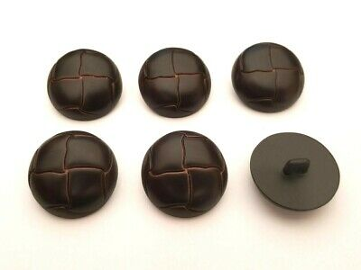 Set of 6 x 25mm Brown Leather Look Football Shank Buttons Knitting Coat Jacket