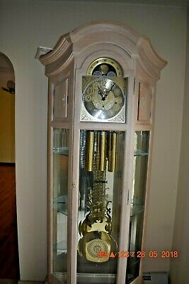 Grandfather Clock Howard Miller Model 610-442 Curio serviced and working