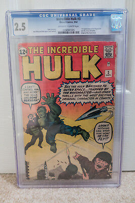 The Incredible Hulk #3 CGC 2.5 OW/W pages 09/62 1st App of Ringmaster Marvel