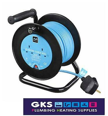 Masterplug 25m Mains Power Extension Cable Reel 2 Sockets 10A  / 240V - LDCC2510