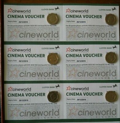 6 Cineworld Tickets - Can Be Used At Box Office Or Online - Valid Till 26/12/19