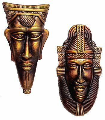 """vintage antique Egyptian king & queen pharaoh wall hanging mask pair 12.5"""""""
