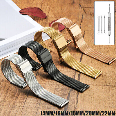 14/16/18/20/22mm 4 Colors Stainless Steel Metal Strap Watch Band Thin Mesh Belt
