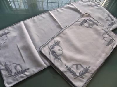 Vintage White Linen 8 Placemats & Runner Tambour Hand Embroidered Gray Ferns