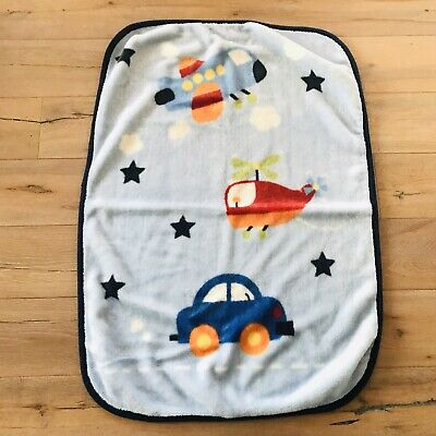 Parents Choice Blue Baby Blanket Fleece Truck Car Helicopter Airplane Crib Throw