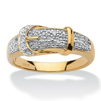 1/10 TCW Diamond Buckle Ring 18k Gold over .925 Silver