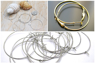 Earrings ring Hoop component, wine charm ring findings Silver, Gold tone