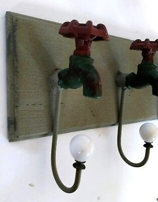 Distressed Cast Iron Water Faucet Wall Rack Rustic Decor Hooks Country Garden
