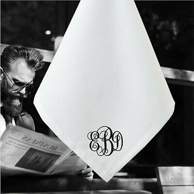 Premium Quality 100% White Cotton Men's Handkerchiefs Monogram Large 40cm