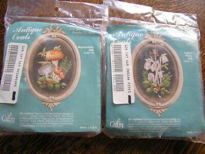 Cathy Needlecraft Vtg Set ANTIQUE OVALS Embroidery Kits MUSHROOMS & GHOST PLANTS