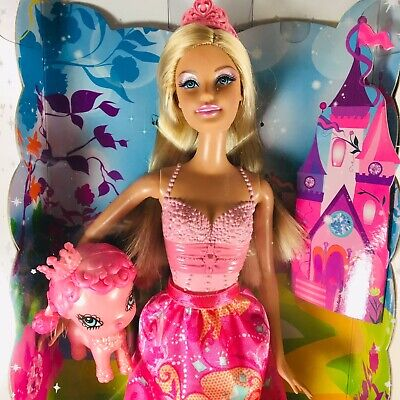 BARBIE Fairy Tale Magic Pink PRINCESS Doll and PET by Mattell (Sealed)