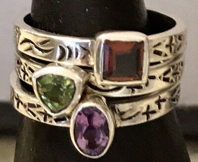 RARE Silpada Sterling Silver and Turquoise Stretch Bracelets B2013 925 Stackable