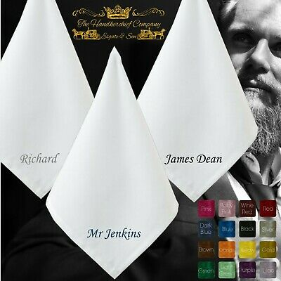 Personalised Premium Quality 100% White Cotton Handkerchief Name Large Mens
