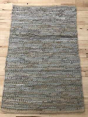 Leather Rug , Beige & Light Grey
